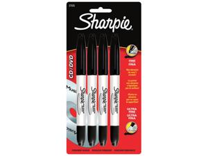 Sharpie CD DVD Permanent Marker Pens Black Music 4-pk