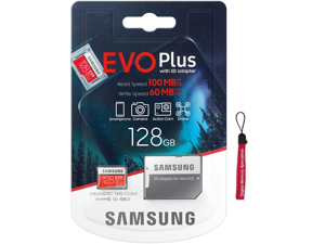 Samsung 128GB EVO Plus microSDXC 100MB/s UHS-I U3 4K Ultra HD Class 10 C10 128G microSD micro SD SDXC Flash Memory Card with Adapter and OEM Lanyard MB-MC128HA