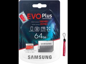 Samsung 64GB EVO Plus microSDXC 100MB/s UHS-I U1 4K Ultra HD Class 10 C10 64G microSD micro SD SDXC Flash Memory Card with Adapter and OEM Lanyard MB-MC64HA