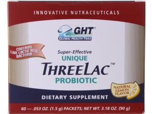 GHT Threelac Probiotic Dietary Supplement, Natural Lemon Flavor, 60 .053-Ounce Packets to balance your digestive system