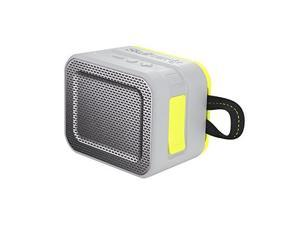skullcandy barricade bluetooth wireless portable speaker, waterproof and buoyant, impact resistant, 8hour battery life and 33 foot wireless range with microphone, gray/hot lime