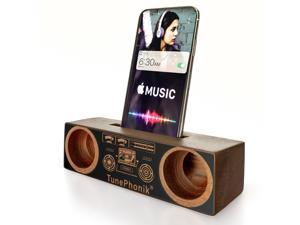 TunePhonik Sapele Wood Smartphone Display Stand w/ Stereo Amplifier