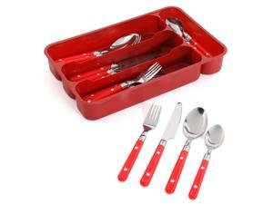 Gibson Casual Living 24pc Flatware Set-Red