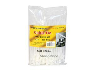 Monoprice 4-inch Cable Tie, 100pcs/Pack, 18 lbs Max Weight - White