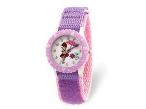 Disney Girls Fancy Nancy Purple Nylon Band Time Teacher Watch