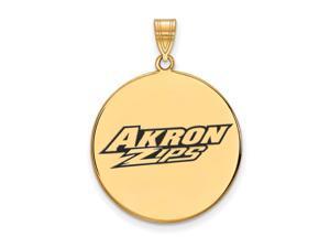 NCAA 14k Gold Plated Silver U. of Akron XL Enamel Disc Pendant