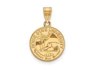 NCAA 14k Gold Plated Silver Boise State Medium Crest Pendant
