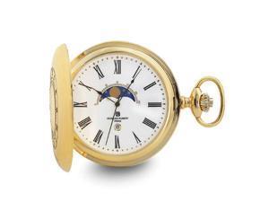 Charles Hubert Gold Finish Open Window Moon Phase Pocket Watch