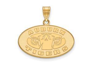 NCAA 14k Gold Plated Silver Auburn U Medium Pendant