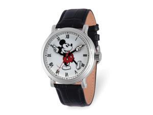 Disney Adult Moving Arms Mickey Mouse Black Leather Band 44mm Watch