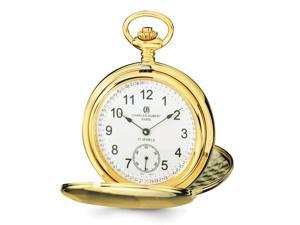 Charles Hubert Gold-Tone Stainless Steel White Dial 54mm Pocket Watch