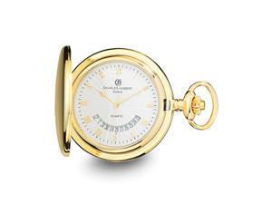 Charles Hubert Gold Finish White Dial Pocket Watch 47mm