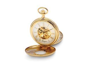 Charles Hubert Gold Finish White Dial Skeleton 50mm Pocket Watch