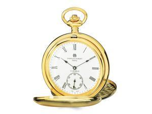 Charles Hubert Gold-Tone Stainless Steel White Dial Pocket Watch 54mm