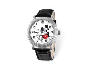 Disney Adult Size Black Leather Strap Mickey Mouse 44mm Watch
