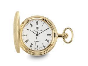 Charles Hubert Gold Finish Brass Basketweave Pocket Watch 42mm