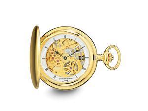 Charles Hubert Gold Tone Stnlss Steel Skeleton Dial 54mm Pocket Watch