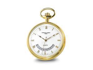 Charles Hubert Gold Finish White Dial Gold Pocket Watch