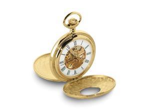 Charles Hubert Gold Tone White Dial Skeleton 48mm Pocket Watch