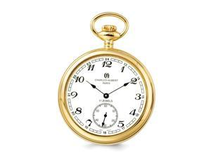 Charles Hubert Gold-Tone Plated Stainless Open Face 52mm Pocket Watch