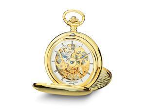 Charles Hubert Gold Tone Stnlss Steel Skeleton Dial Pocket Watch 54mm