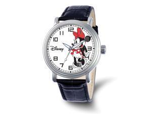 Disney Ladies Size Black Leather Strap Minnie Mouse 44mm Watch