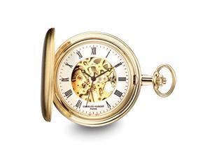 Charles Hubert Gold Finish Skeleton Dial Pocket Watch