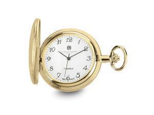 Charles Hubert Gold Finish Brass Basketweave 42mm Pocket Watch