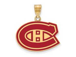 SS 14k Yellow Gold Plated NHL Montreal Canadiens MD Enamel Pendant