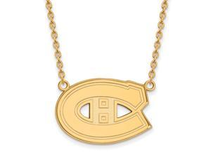 14k Yellow Gold NHL Montreal Canadiens Large Necklace, 18 Inch