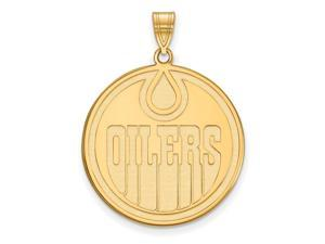 SS 14k Yellow Gold Plated NHL Edmonton Oilers XL Disc Pendant