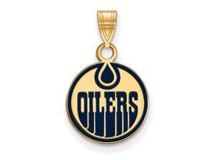 SS 14k Yellow Gold Plated NHL Edmonton Oilers SM Enamel Disc Pendant