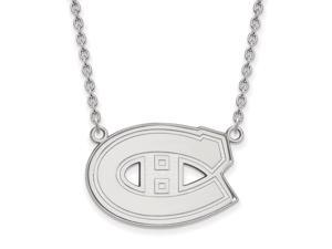 10k White Gold NHL Montreal Canadiens Large Necklace, 18 Inch