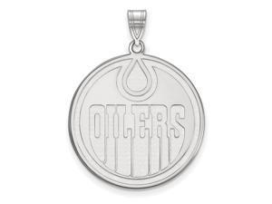 10k White Gold NHL Edmonton Oilers XL Disc Pendant
