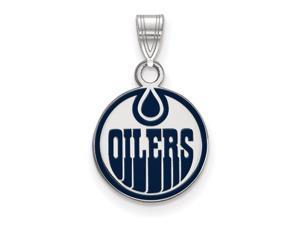 Sterling Silver NHL Edmonton Oilers SM Enamel Disc Pendant