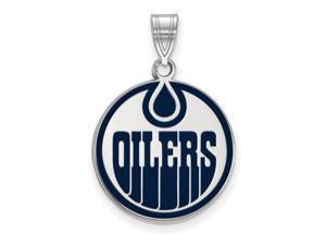 Sterling Silver NHL Edmonton Oilers LG Enamel Disc Pendant
