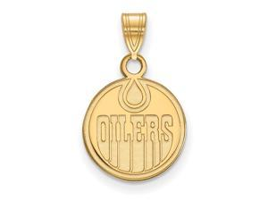 14k Yellow Gold NHL Edmonton Oilers Small Disc Pendant