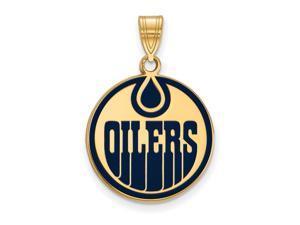 SS 14k Yellow Gold Plated NHL Edmonton Oilers LG Enamel Disc Pendant