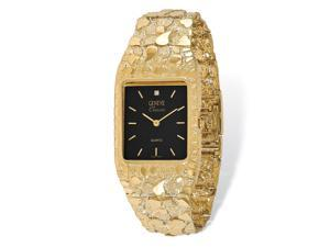 14k Yellow Gold Mens Mens Squared Black Dial Solid Nugget Watch