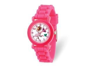 Disney Girls Fancy Nancy Pink Silicone Band Time Teacher Watch