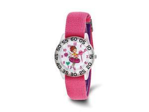 Disney Girls Fancy Nancy Pink Nylon Band Time Teacher Watch