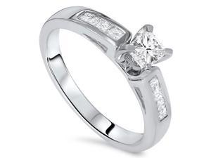 3/4ct Princess Cut Diamond Engagement Ring with Accent Diamonds 14K White Gold