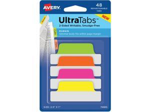 """Avery Tabs Repositionable 2-Sided 2-1/2""""x1"""" 48/PK AST Neon 74865"""