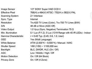 """620TV Lines 1/3"""" SONY Super HAD CCD II 40IR-LEDs 2.8~12mm Lens WDR Day&Night Dual Voltage IR Bullet Camera"""
