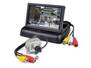 "4.3"" Folding Color LCD Monitor Surveillance Kit w/Wired Video Camera, EV-818CB"