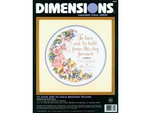 """To Have And To Hold Wedding Record Counted Cross Stitch Kit-12"""" Round"""