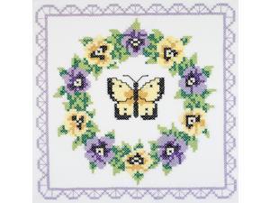 Janlynn 21-1332 Pansy Wreath Quilt Blocks Stamped Cross Stitch -18 in.X18 in. 6- Pkg