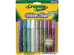 Crayola Washable Glitter Glue Pens .35oz-Bold 9/Pkg
