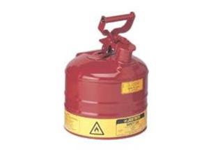 Justrite 7120100 Type I Galvanized Steel Safety Can, 2 Gallons Capacity, Red