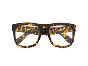 4d3b540f01 Designer Inspired Large Thick Frame Clear Lens Sunglasses Classic Tortoise